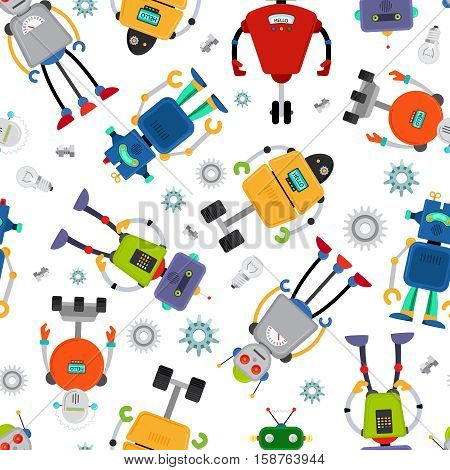 Robot pattern with cute colorful robots on white. Vector illustration