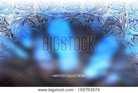 Winter blue blur background with frost hoar border frame. Horizontal arc frozen glass design. Vector illustration stock vector.