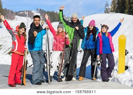 People Group With Snowboard And Ski Resort Snow Winter Mountain Cheerful Waving Hands Having Fun