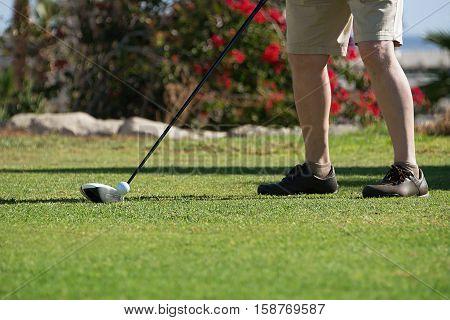 Man playing golf,playing golf preparing to shot