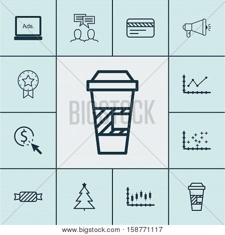 Set Of 12 Universal Editable Icons. Can Be Used For Web, Mobile And App Design. Includes Icons Such As Sweet, Discussion, Changes Graph And More.