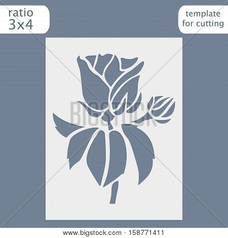 Laser cut wedding invitation card template. Cut out the paper card with rose flower. Greeting card template for cutting plotter. Vector.