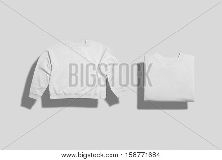 Plain white cotton short sweatshirt folded and unfolded front view on white background