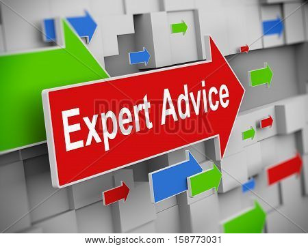 3d illustration of moving arrow of expert advice on abstract wall background