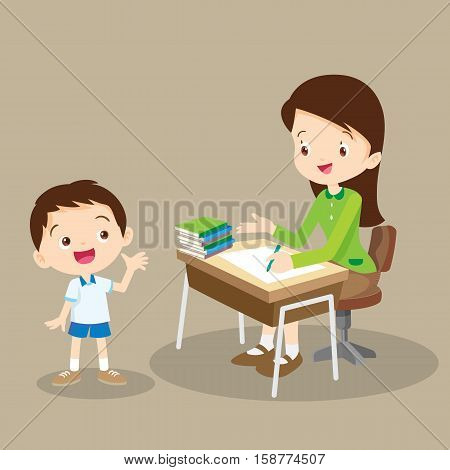 Teacher Working And Talk With Student