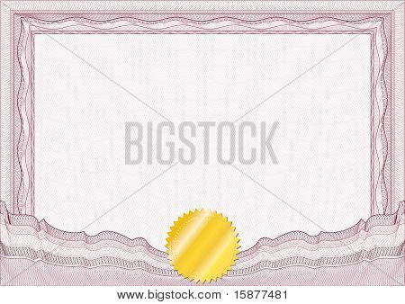 Classic Guilloche Border For Diploma Or Certificate With Gold Seal / Vector/ A4 Horizontal / Cmyk Co