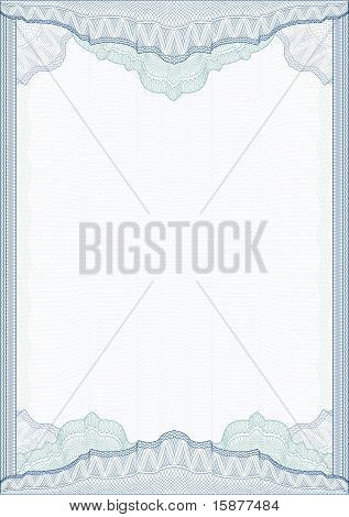 Classic Guilloche Border For Diploma Or Certificate / Vector/ A4 Vertical / Cmyk Color