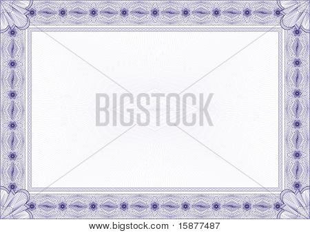 Classic Guilloche Border For Diploma Or Certificate / Vector/ A4 Horizontal / Cmyk Color