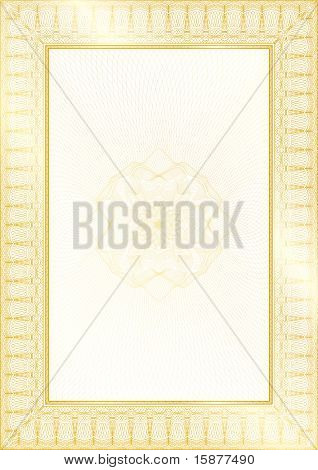 Golden Classic Guilloche Border For Diploma Or Certificate With Protective  Ornament  / Vector/ A4 V