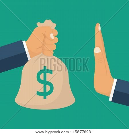 Rejection money concept. Businessman holding bag of money in hand offering bribe. Hand gesture rejecting the proposal. Violation of the law corruption. Refuse cash. Vector illustration flat design.