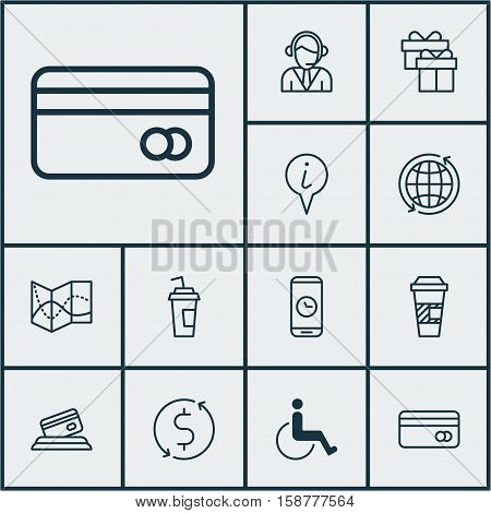 Set Of Transportation Icons On Call Duration, Money Trasnfer And Accessibility Topics. Editable Vector Illustration. Includes Accessibility, Disabled, Gift And More Vector Icons.