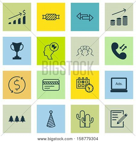 Set Of 16 Universal Editable Icons. Can Be Used For Web, Mobile And App Design. Includes Icons Such As Successful Investment, Holiday Ornament, Birthday Hat And More.