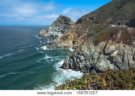 The cliffs of Devil Slide coast, California