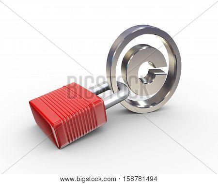 3d illustration of locked padlock and copyright symbol