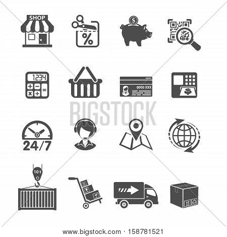 Internet Shopping, Delivery and Cargo Black Icons Set for e-commerce. Isolated vector illustration