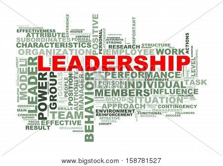 Illustration of wordcloud word tags of leadership concept