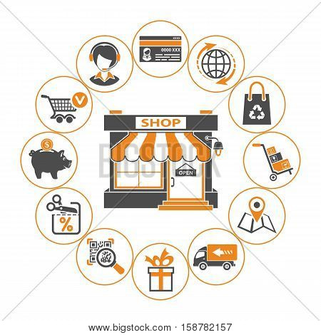 Online internet shopping concept with Two Color flat Icons Set for e-commerce marketing and advertising with shop, delivery, sale and goods. Isolated vector illustration