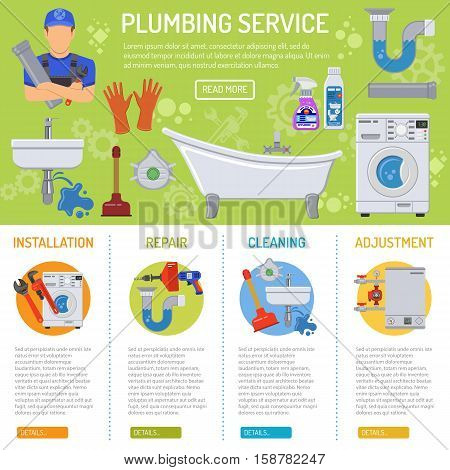 Plumbing Service Installation and Repair infographics with Plumber, Tools and Device Flat Icons. Vector illustration.