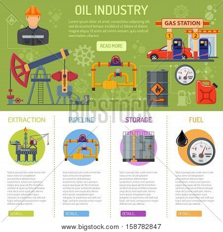 Oil industry Infographics with Flat Icons extraction storage delivery and transportation oil and petrol with oil pump, oil platform and tank oil. vector illustration