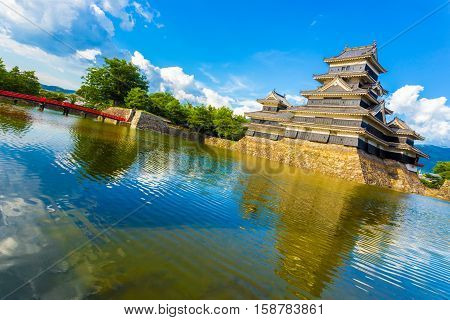 Matsumoto Castle Bridge Moat Water Angled Day