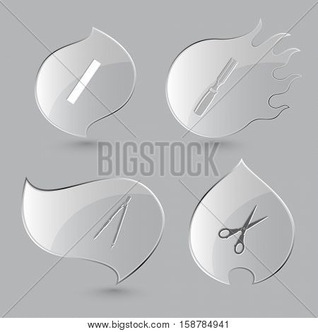 4 images: ruler, chisel, caliper, scissors. Angularly set. Glass buttons on gray background. Fire theme. Vector icons.