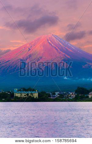 Mount Fuji Detail Sunrise Kawaguchiko Red Cone V