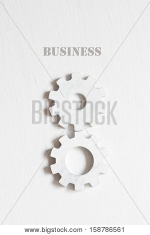 Business inscription and white gears on the white background