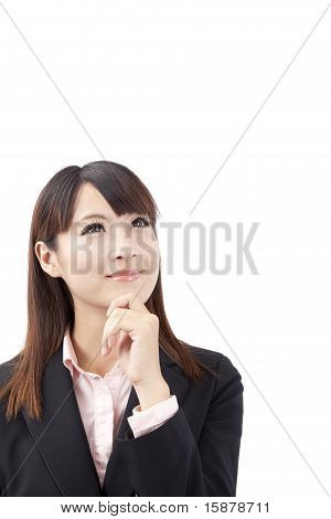 Asian Businesswoman thinking and watching