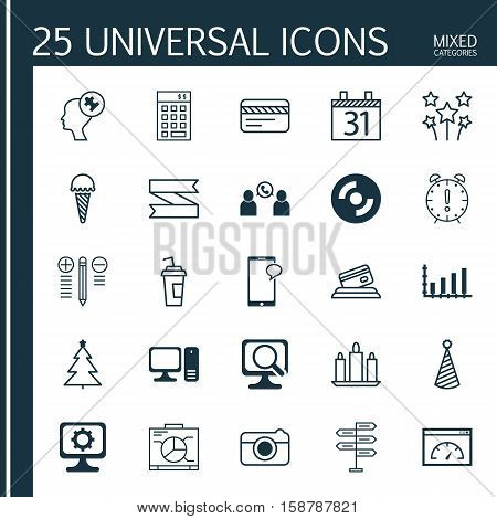 Set Of 25 Universal Editable Icons. Can Be Used For Web, Mobile And App Design. Includes Icons Such As Dynamics, Messaging, Blank Cd And More.