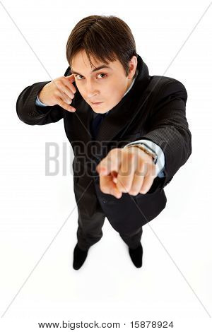 Authoritative modern businessman showing contact me gesture isolated on white