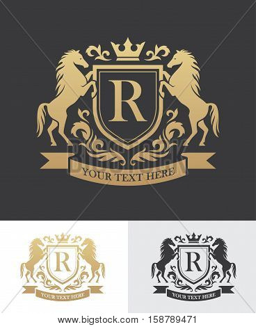 Retro golden crest with shield and two horses. Can be used as logo emblem or banner for luxury royal or vintage design concept