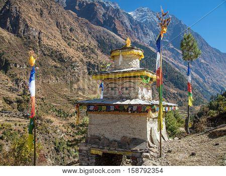 Buddhist stupa in  Hymalayas mountains. Manaslu region, Nepal