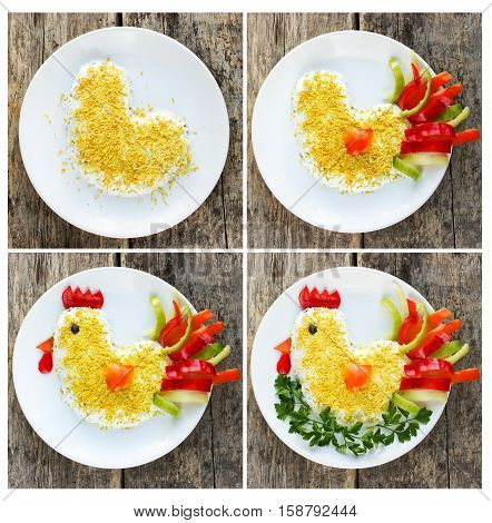 Cooking salad shaped or rooster symbol of New Year 2017 recipe step by step
