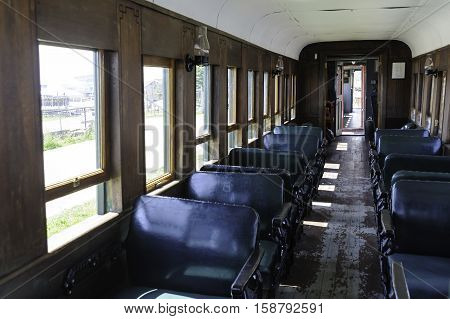 Portland Maine USA - August 10 2009: Old railway passenger car on display at Maine Narrow Gauge Railroad Co & Museum