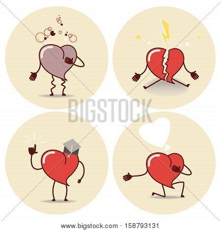 Heart cartoon icon. Heart attack a declaration of love education a broken heart. Vector