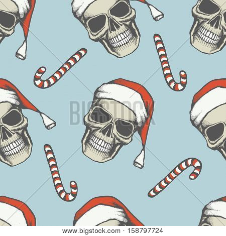 Vector Seamless Christmas skull illustration. Hand drawn skull. Spooky and scary halloween skull. Seamless pattern