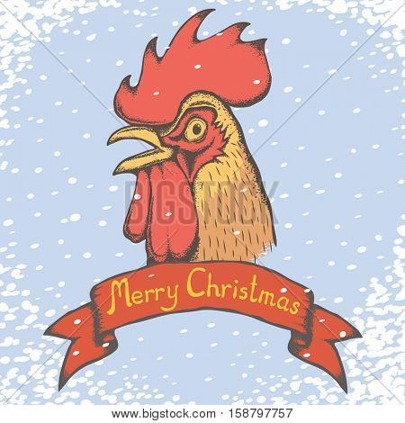 Christmas Rooster vector illustration. Rooster head and snow. Inscription Merry Christmas