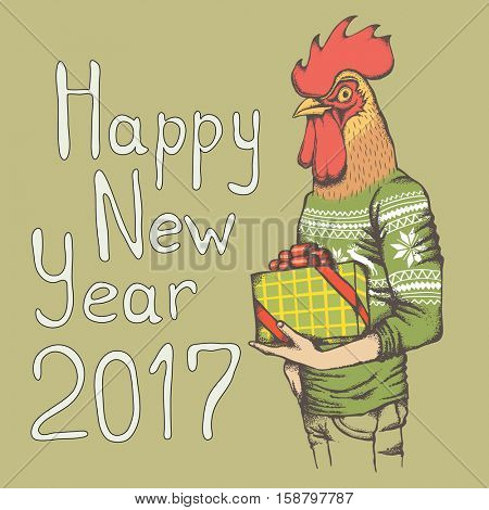 Christmas Rooster vector illustration. Rooster in human sweatshirt with gift