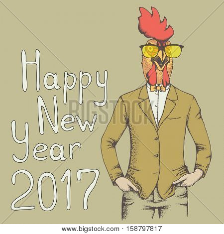 Rooster vector illustration. Rooster in human suit. 2017 new year of the rooster