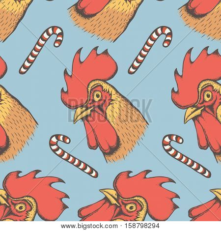 Vector Rooster bird illustration seamless pattern. Head of the rooster. 2017 new year of the rooster