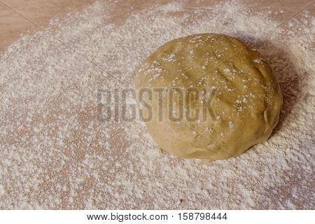 Ball of dough with dusting of flour