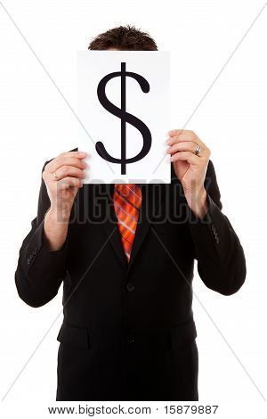 Businessman Is Holding A Dollar Mark
