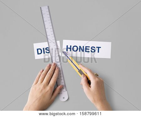 Dishonest Lies Hands Cut Word Split Concept
