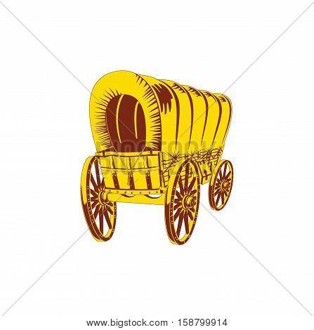 Old wagon. Flat style. Vector illustration eps