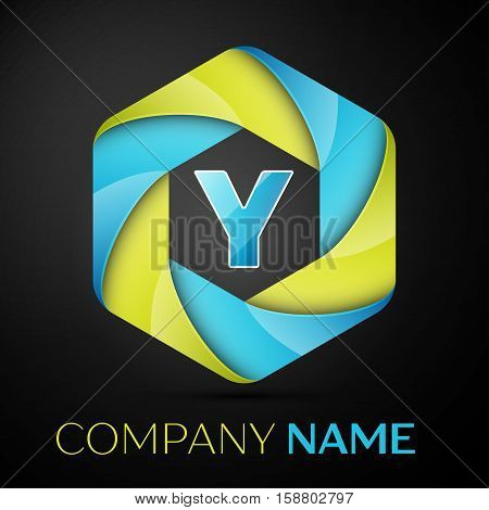 Y Letter colorful logo in the hexagonal on black background. Vector template for your design