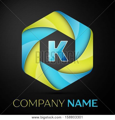 K Letter colorful logo in the hexagonal on black background. Vector template for your design