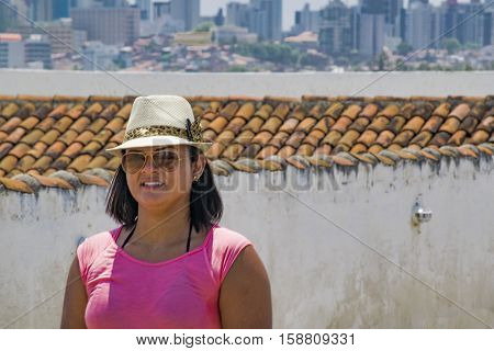 NATAL, BRAZIL, JANUARY - 2016 - Adult woman with summer clothes at Forte dos reis Magos Natal Brazil