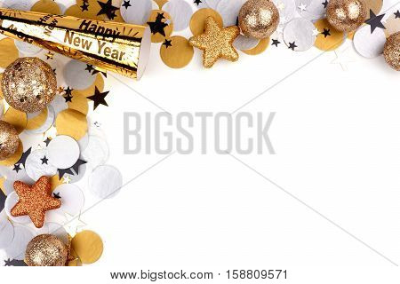 New Years Eve Corner Border Of Confetti And Decor Isolated On A White Background