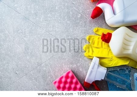 Cleaning Products On Stone Background With Copyspace. Top View