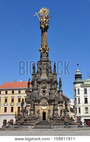 Main square of the Olomouc  city Horni namesti with Holy Trinity Column